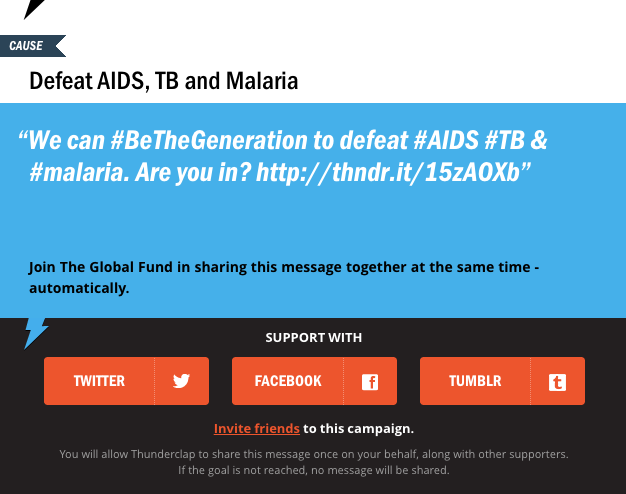 Use the power of your Twitter or Facebook profile to fight AIDS, TB and malaria
